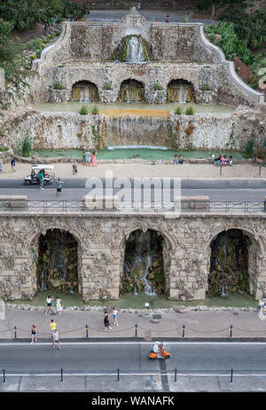Florence, Italy - 2019, August 16: The Poggi's Ramps (Rampe del Poggi) with beautiful fountain system, is an iconic Florentine landmark.