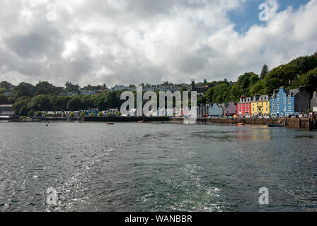The Colourful Buildings on the Seafront Tobermory Isle of Mull Scotland - Stock Photo