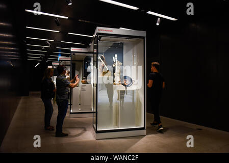 August 20, 2019, Berlin, Germany: Visitors admire an artefact as they walk through the Ancient Egypt permanent exhibition at Neues Museum..The Egyptian Museum and Papyrus Collection has a chance to present itself on a scale never shown until now, with over 2500 exhibits on display at the Neues Museum northern wing. (Credit Image: © Omar Marques/SOPA Images via ZUMA Wire) - Stock Photo