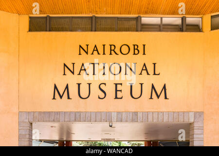 Nairobi National Museum entrance sign on the museum exterior, Nairobi, Kenya - Stock Photo