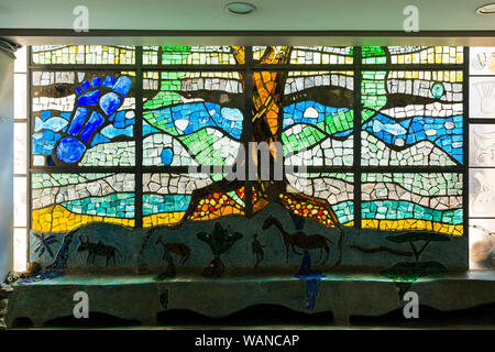 Stained glass window by Nani Croze at the entrance of Nairobi National museum, Kenya - Stock Photo