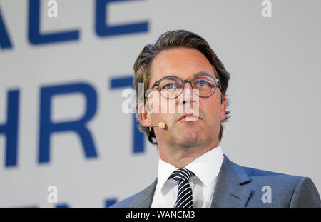Schkeuditz, Germany. 21st Aug, 2019. Andreas Scheuer (CSU), Federal Minister of Transport, is on the podium at the first National Aviation Conference at Leipzig-Halle Airport. Credit: Jan Woitas/dpa-Zentralbild/dpa/Alamy Live News - Stock Photo
