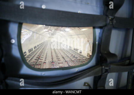 Schkeuditz, Germany. 21st Aug, 2019. View into the cargo hold of a DHL freighter aircraft on the fringes of the National Aviation Conference at Leipzig-Halle Airport. Credit: Jan Woitas/dpa-Zentralbild/dpa/Alamy Live News - Stock Photo