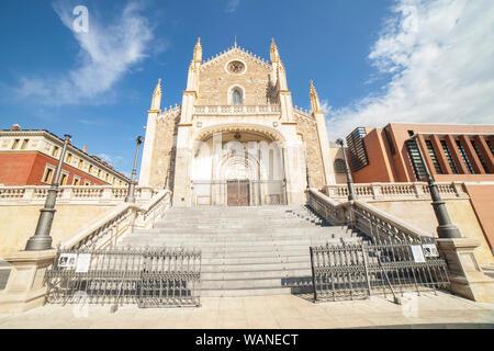 Madrid, Spain - Sept 12th, 2018: Los Jeronimos Church o St. Jerome the Royal, Madrid, Spain - Stock Photo