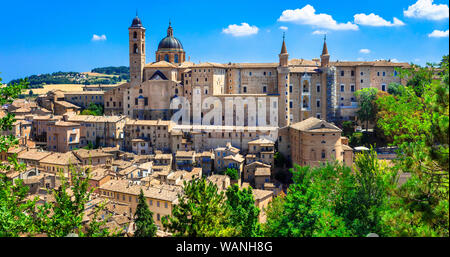 Beautiful Urbino medieval town,view with houses and cathedral,Marche,Italy. - Stock Photo