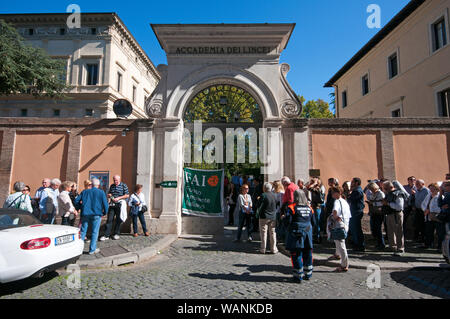 People in queue waiting to visit the Academy of Lincei (Villa Farnesina) during FAI Days in Rome, Lazio, Italy - Stock Photo