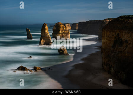 The famous Twelve Apostles under full moon in the middle of the night.