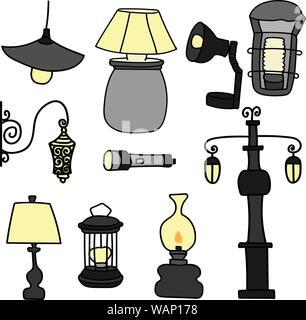 Set of hand-drawn vector lamps, street light, old lamp. Isolated. - Stock Photo