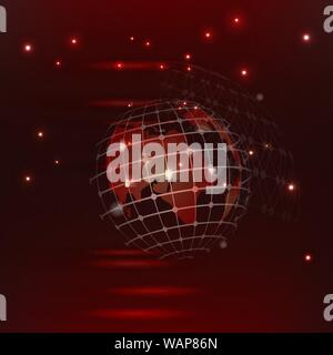 abstract high tech red vector background red glowing connections in space with particles, big data, computer generated abstract background. - Stock Photo