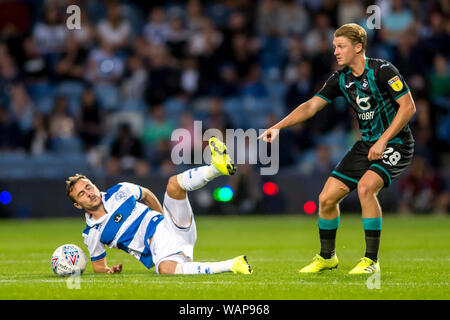 London, UK. 21st Aug, 2019. George Byers of Swansea City and Grant Hall of Queens Park Rangers during the EFL Sky Bet Championship match between Queens Park Rangers and Swansea City at The Kiyan Prince Foundation Stadium, London, England on 21 August 2019. Photo by Salvio Calabrese. Editorial use only, license required for commercial use. No use in betting, games or a single club/league/player publications. Credit: UK Sports Pics Ltd/Alamy Live News - Stock Photo