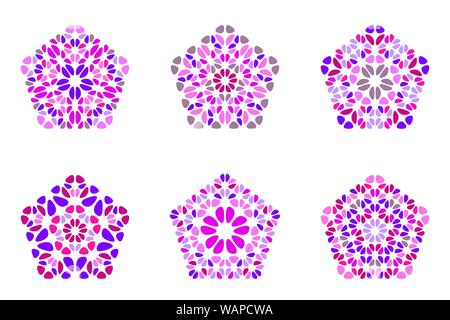 Colorful abstract isolated geometrical flower ornament pentagon symbol template set - pentagonal ornamental vector design elements from curved stones - Stock Photo