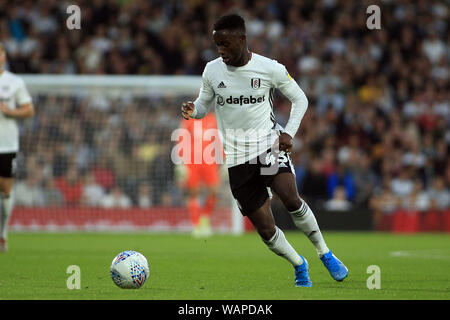 London, UK. 21st Aug, 2019. Steven Sessegnon of Fulham in action. EFL Skybet championship match, Fulham v Millwall at Craven Cottage in London on Wednesday 21st August 2019. this image may only be used for Editorial purposes. Editorial use only, license required for commercial use. No use in betting, games or a single club/league/player publications . pic by Steffan Bowen/Andrew Orchard sports photography/Alamy Live news Credit: Andrew Orchard sports photography/Alamy Live News - Stock Photo