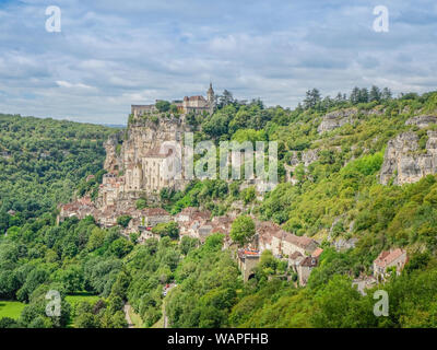 Rocamadour, Midi Pyrenees, France - July 27, 2017: Panoramic view of the Rocamadour Monastery and medieval village - Stock Photo