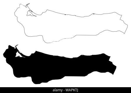 Atlantida Department (Republic of Honduras, Departments of Honduras) map vector illustration, scribble sketch Atlántida map - Stock Photo