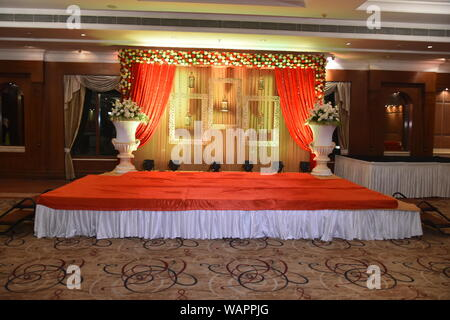 Beautiful Indian Wedding Ceremony Stage Set In Colors And Entrance In Red And Floral Patterns Stock Photo Alamy