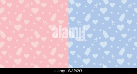Set kids cute vector seamless pattern with shapes of baby bottle, pacifier, heart on blue and pink background - Stock Photo