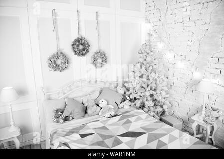 Christmas composition. Christmas. Beautiful decorated room with tree and toys. Happy new year. Merry Christmas and Happy Holidays. The morning before Xmas. New year holiday. All I want for Christmas. - Stock Photo