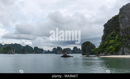 Landscape with sea, islands and clouds - Ha Long Bay - Stock Photo