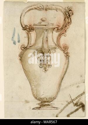 Drawing, Design for a Ewer with Spout and Loop Handle, 1600–1650 - Stock Photo