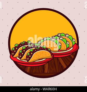 Delicious mexican food gastronomy cartoons - Stock Photo