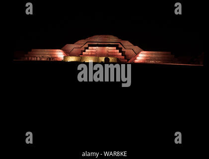 Nights in Mexico Pyramid of the moon iluminated in pink ancient historic architecture cosidered a archaeological land where men become gods - Stock Photo