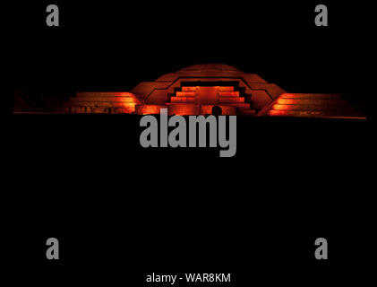 Nights in Mexico Pyramid of the moon ancient historic architecture considered a archaeological land where men become gods illuminated in red - Stock Photo