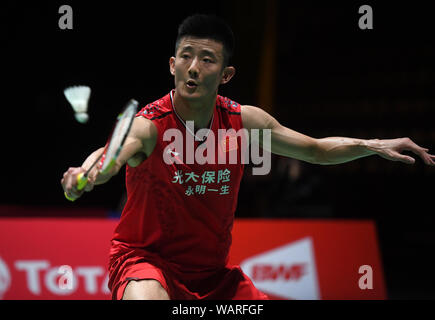 Basel, Switzerland. 21st Aug, 2019. Chen Long of China competes during the men's singles second round match against Lee Cheuk Yiu of China's Hong Kong at the BWF World Championships 2019 in Basel, Switzerland, Aug. 21, 2019. Credit: Li Jundong/Xinhua/Alamy Live News - Stock Photo