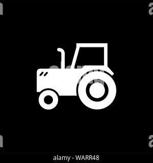 Tractor Icon On Black Background. Black Flat Style Vector Illustration. - Stock Photo