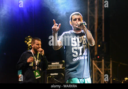 Dedduh (Dejan Dedovic) and Noyz (Mario Đorđević), from Montenegrin hip-hop duo Who See - Stock Photo