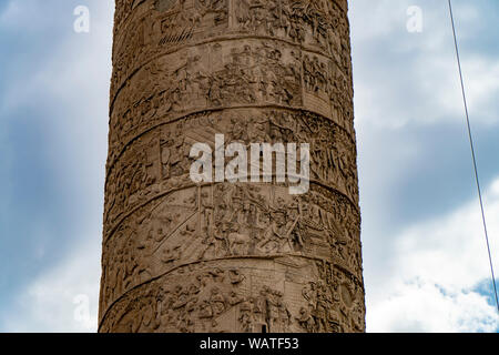 Colonna Traiana, detail of the bas-relief scenes of the Traja 's Column in Rome - Stock Photo