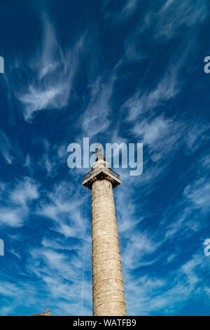 Trajan's Column (Colonna Traiana) in Rome, Italy. - Stock Photo