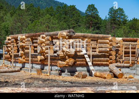 Construction of a large wooden house from a thick round timber cut in the taiga and reserve for the production of building materials and eco-friendly - Stock Photo