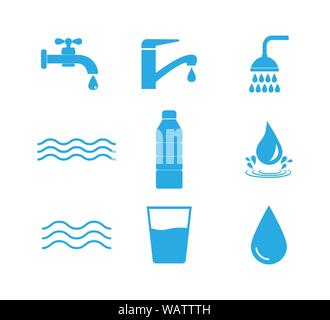 Water icon set. Vector illustration, flat design. - Stock Photo