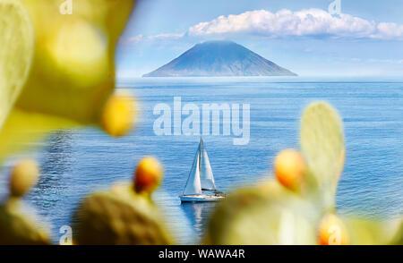 Italy, Aeolian Islands. View of Stromboli from Salina. - Stock Photo