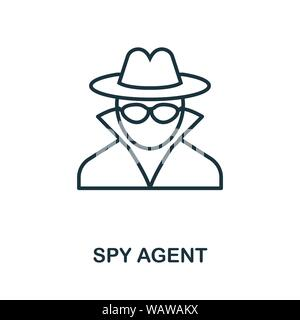 Spy Agent thin line icon. Creative simple design from security icons collection. Outline spy agent icon for web design and mobile apps usage. - Stock Photo