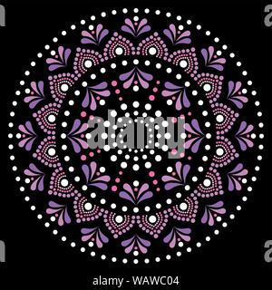 Mandala dot painting vector design, Aboriginal dot art style, Australian folk art boho style in pink and purple - Stock Photo