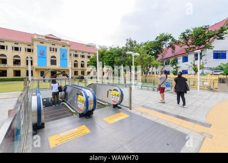 Bangkok , Thailand -  16 Aug, 2019 : Outdoor escalator at front side of  Museum of Siam for passenger to Sanamchai MRT station - Stock Photo