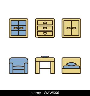 Set of design icons for Business, SEO and Social media marketing. Schematic representation of furniture. Vector EPS10 - Stock Photo