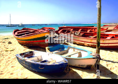 The main beach in Santa Maria, Sal Island, Cape Verde - Stock Photo