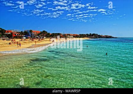 The main beach in Santa Maria, Sal Island, Cape Verde - Stock Photo