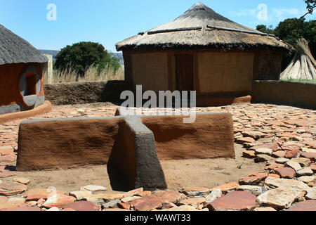 Traditional hut, Basotho Cultural Village, Free State, South Africa - Stock Photo