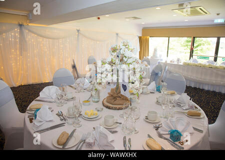 wedding reception room, all dressed and ready for the wedding reception to start, Wedding breakfast celebration, wedding day in Shropshire, England - Stock Photo