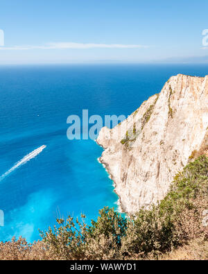 Zakynthos Island, Greece. A pearl of the Mediterranean with beaches and coasts suitable for unforgettable sea holidays. Wreck Beach. - Stock Photo