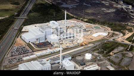 aerial view of the Ferrybridge Multifuel 1 (FM1) power station, West Yorkshire - Stock Photo