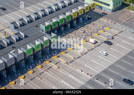 Moscow, Russia. 20th Aug, 2019. MOSCOW, RUSSIA - AUGUST 20, 2019: An aerial view of a junction of the M1 Belarus highway and the Moscow Ring Road (MKAD). Marina Lystseva/TASS Credit: ITAR-TASS News Agency/Alamy Live News - Stock Photo