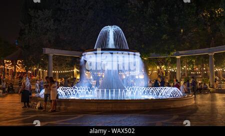 Baku, Azerbaijan  August 19, 2019 Fountain Square at night - Stock Photo