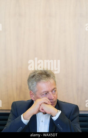 Hanover, Germany. 22nd Aug, 2019. Bernhard Witthaut, President of the Office for the Protection of the Constitution of Lower Saxony, takes part in a discussion on right-wing extremism in the Landtag. Credit: Ole Spata/dpa/Alamy Live News - Stock Photo