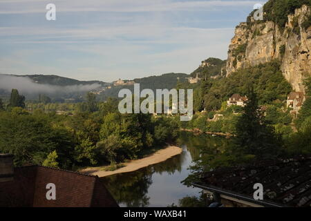 Morning mist over the river valley - Stock Photo