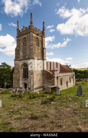 St Giles Church in the deserted village of Imber, Salisbury Plain, Wiltshire, England - Stock Photo
