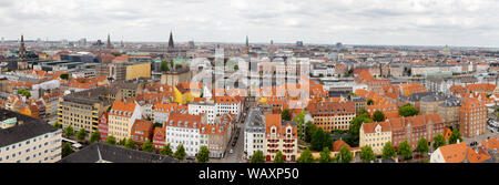 Copenhagen panorama - skyline rooftop view from the spire of the Church of Our Saviour; Copenhagen city centre, Denmark, Scandinavia Europe - Stock Photo